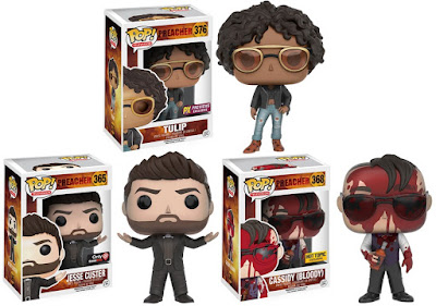 "Preacher Retailer Exclusive Pop! Vinyl Figures by Funko – Previews Exclusive Tulip O'Hare, GameStop Exclusive Jesse Custer Variant, Hot Topic Exclusive ""Bloody"" Cassidy"
