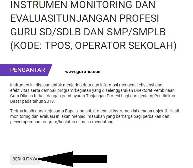 cara pengisian Instrumen e-monitoring guru 2019