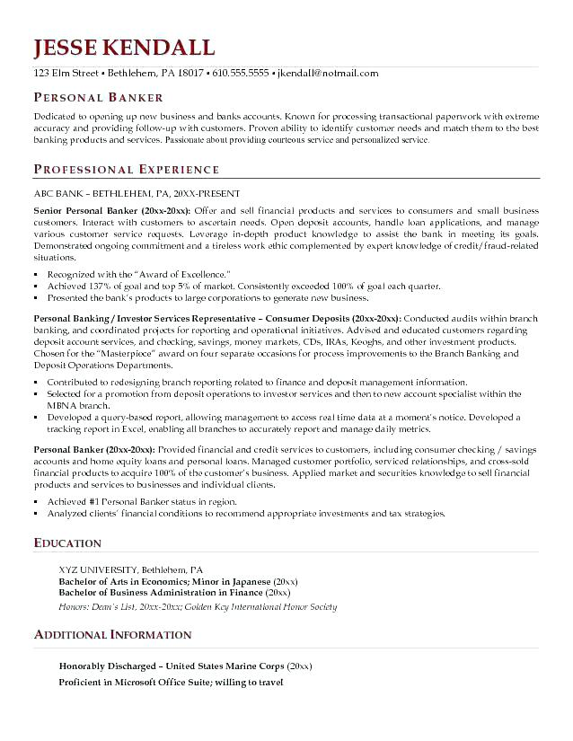 Personal Banker Resumes Business Resume Samples New Mortgage