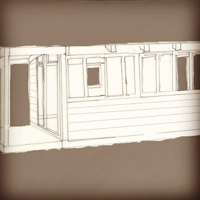 Sketch of a two-room holiday home with sliding doors and patios on each side and windows across the front.