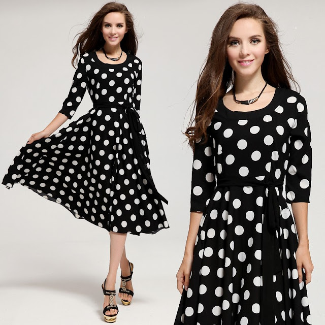 comfortable polka dot dress