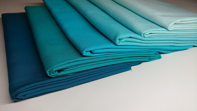 Ombre aquas in Kona solid fabrics