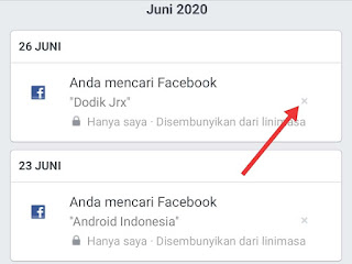 cara menghapus history pencarian facebook