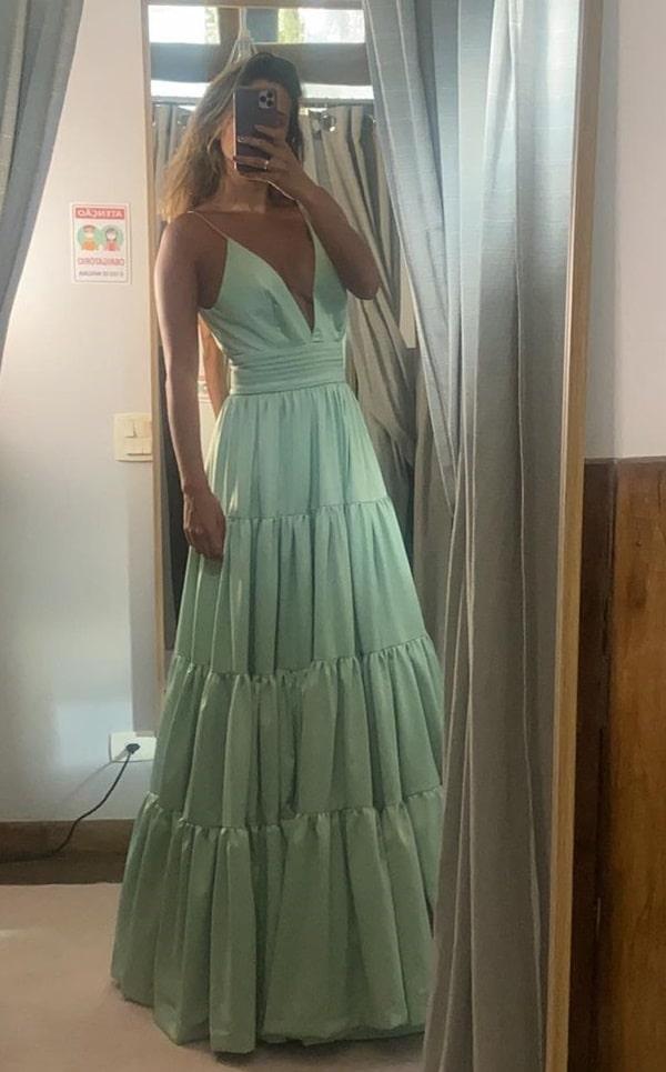 vestido longo verde menta para madrinha de casamento