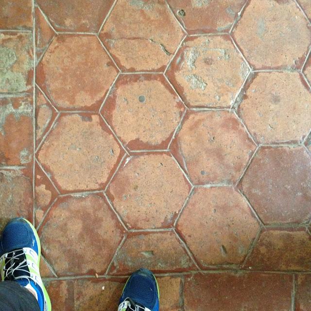 Rare brick baldosas or earthenware floor tiles
