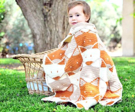 Fox baby blanket Crochet pattern