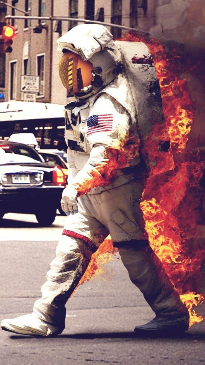wallpaper iPhone, sfondi per smartphone, fuoco, tuta astronauta