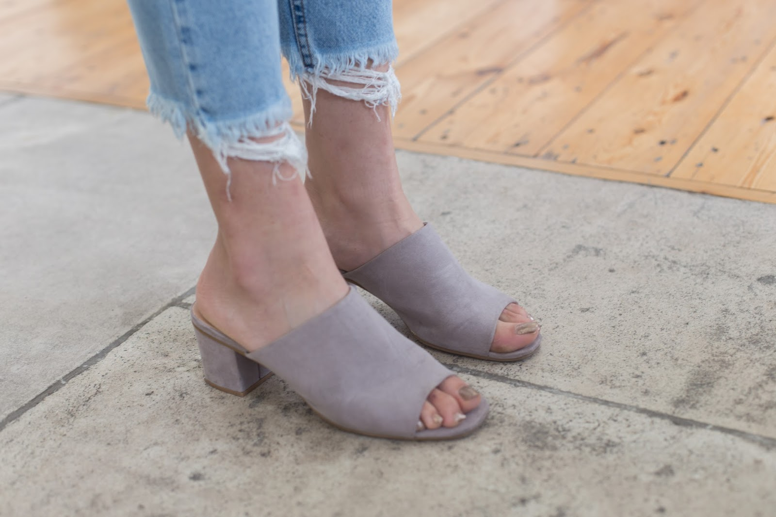 Close up image of Primark grey mules