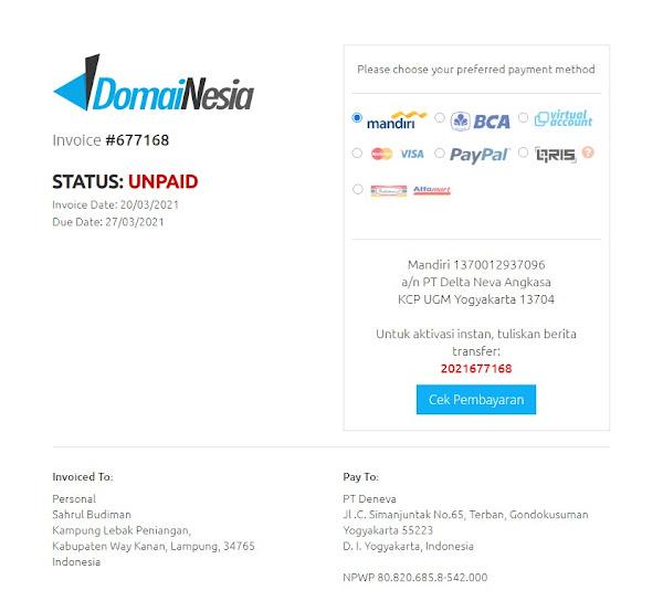 Cara Perpanjang Domain di Domainesia Mandiri Payment