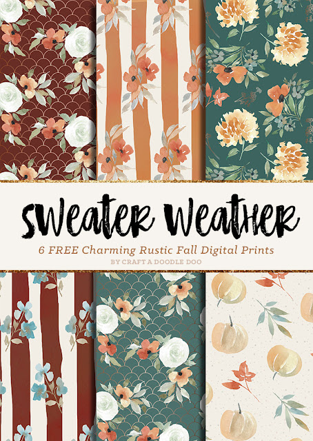 Free Fall Printable Scrapbooking Digital Paper Pack by Craft A Doodle Doo | Autumn Floral Paper background for DIY and Craft Projects by Craft A Doodle Doo #freeprintablepaperset #fallpaperpackfree #watercolorfallclipart