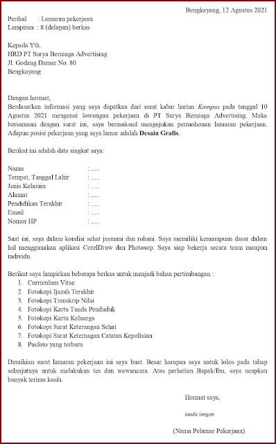 Contoh Application Letter Untuk Desain Grafis (Fresh Graduate) Berdasarkan Informasi Dari Media Cetak