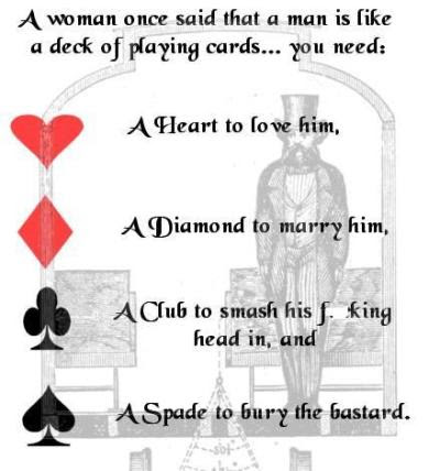 A Man Is Like A Deck Of Playing Cards...