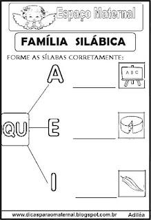 Família silábica alfabetização letra Q