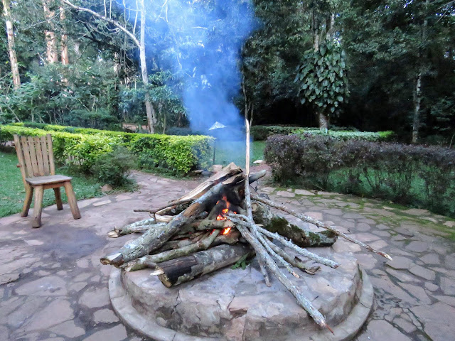 Bonfire at Kibale Forest Camp in Uganda