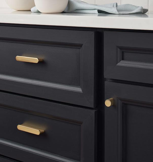 Dark Blue Kitchen Cabinets with Brass Hardware cabinet pulls