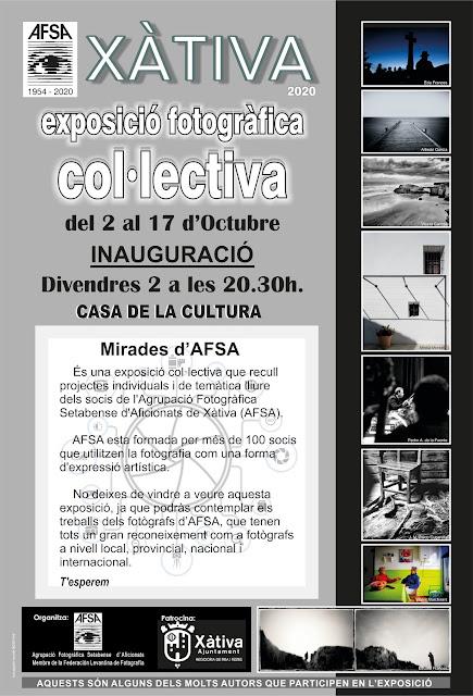 """Exposició fotogràfica col·lectiva d'AFSA """"Mirades""""     Del 2 al 17 d'Octubre     Inauguració Divendres 2 a les 20:30h. A la Casa de la Cultura  Mirades d'AFSA és una exposició col·lectiva que recull projectes individuals i de temàtica lliure del socis de l'Agrupació Fotogràfica Setabense d'Aficionats de Xàtiva (AFSA)."""