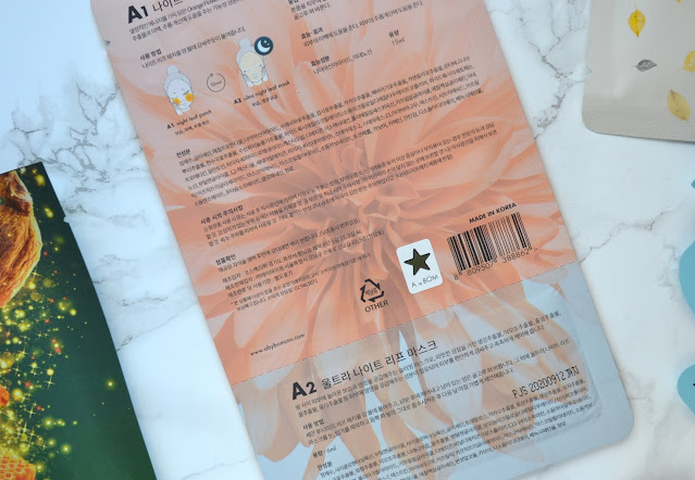 back of the packaging of the a by bom ultra night leaf mask