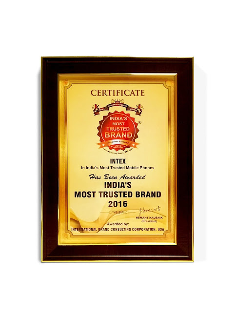 Intex wins India's Most Trusted Brands Award 2016