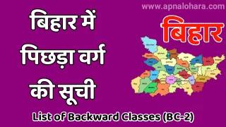 List of Backward Classesin Bihar, BC2 Caste List in Bihar 2021, OBC Caste list in Bihar 2021