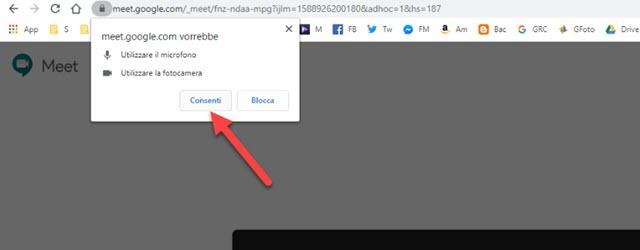 consentire a google meet di usare microfono e videocamera