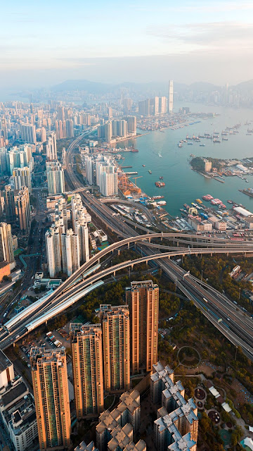 City, coast, aerial view, buildings, skyscrapers, Metropolis, Hong Kong