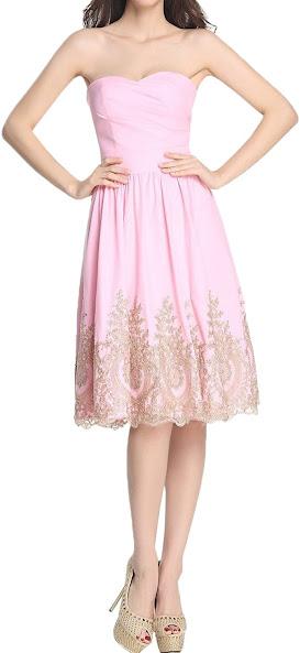 Pink Knee Length Chiffon Bridesmaid Dresses