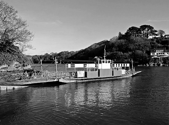 Bodinnick Ferry, Cornwall in bland and white.