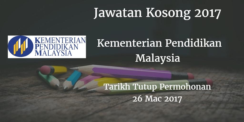 Jawatan Kosong KPM 26 Mac 2017