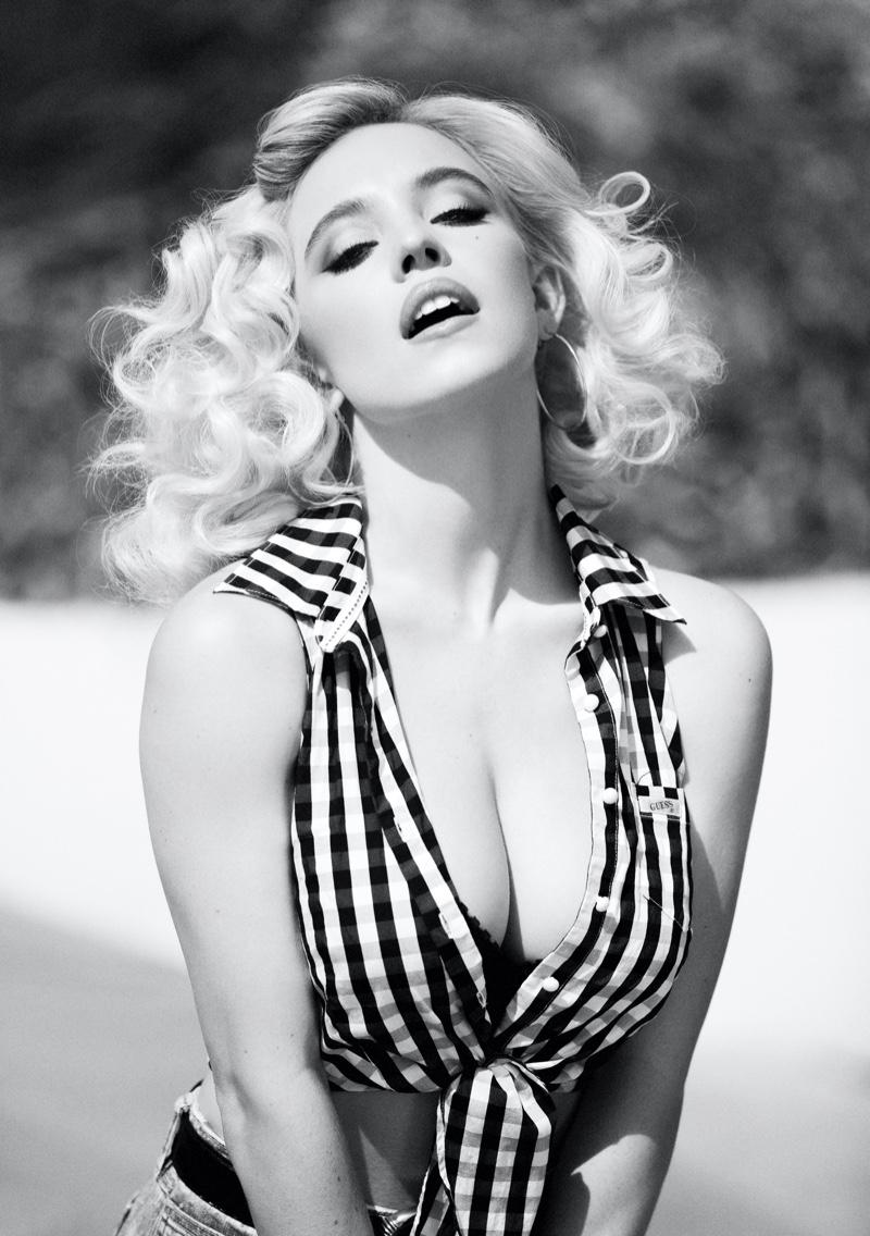 Posing in Malibu, California, Sydney Sweeney fronts GUESS Originals x Anna Nicole Smith campaign