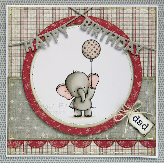 Masculine card featuring cute elephant with balloon