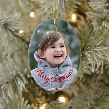 Create Your Own Oval Ceramic Holiday Christmas Photo Ornament