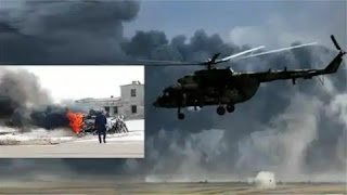 A Russian military helicopter crashed on Tuesday