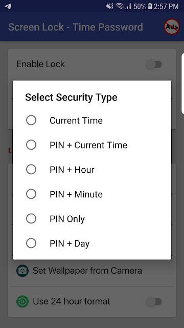 قفل الهاتف عن طريق الساعة بتطبيق Screen Lock - Time Password