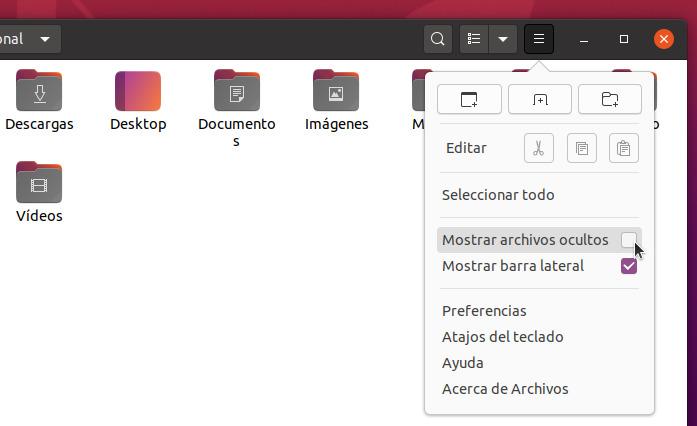 Ocultar y mostrar archivos y carpetas en Linux - Mostrar Archivos Ocultos