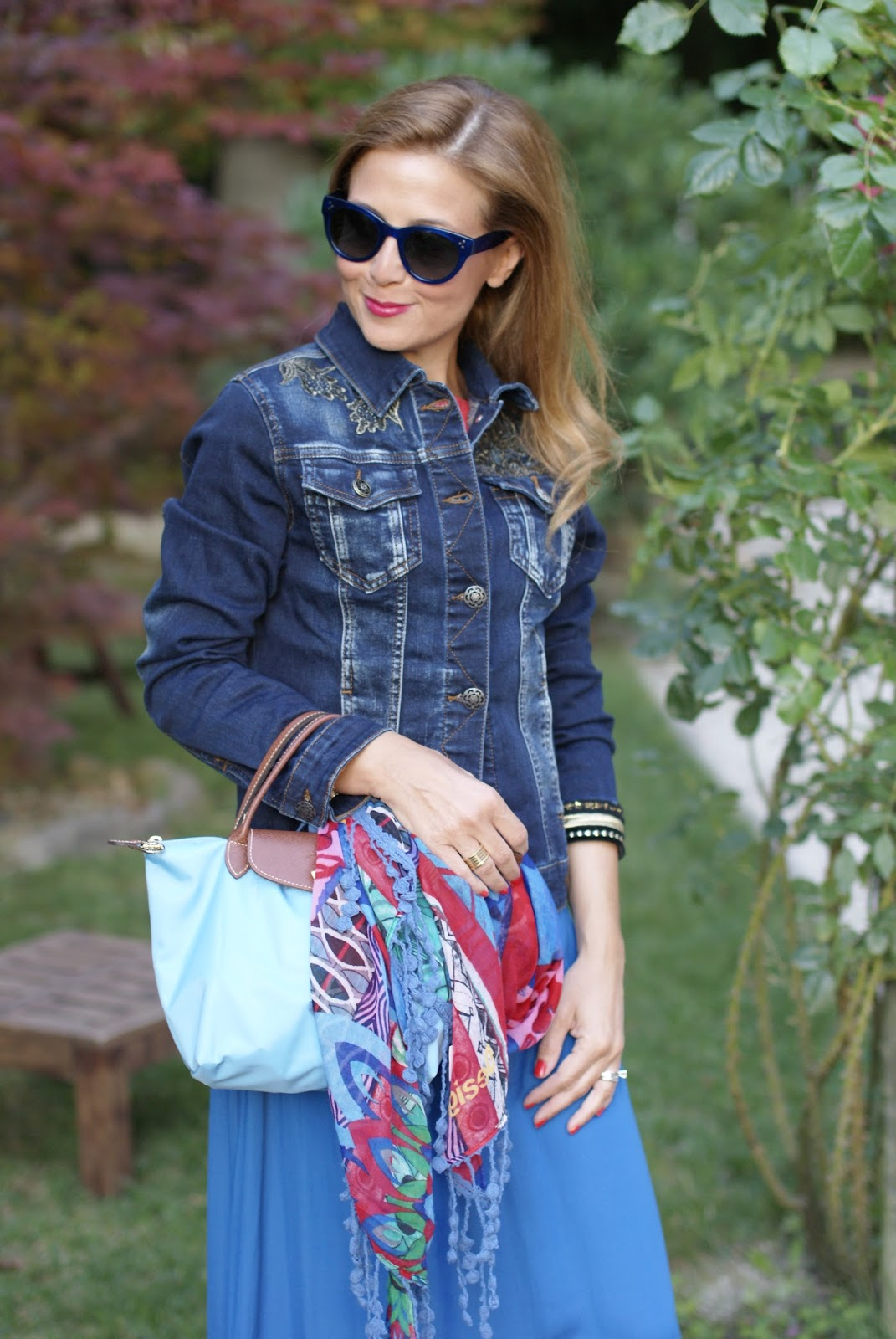 #DesigualSales denim jacket Magda and scarf on Fashion and Cookies fashion blog, fashion blogger style