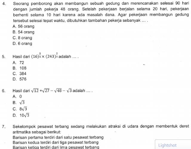 50+ Contoh Soal dan Kunci Jawaban Ujian Madrasah (UM) Matematika MTs Tahun 2021