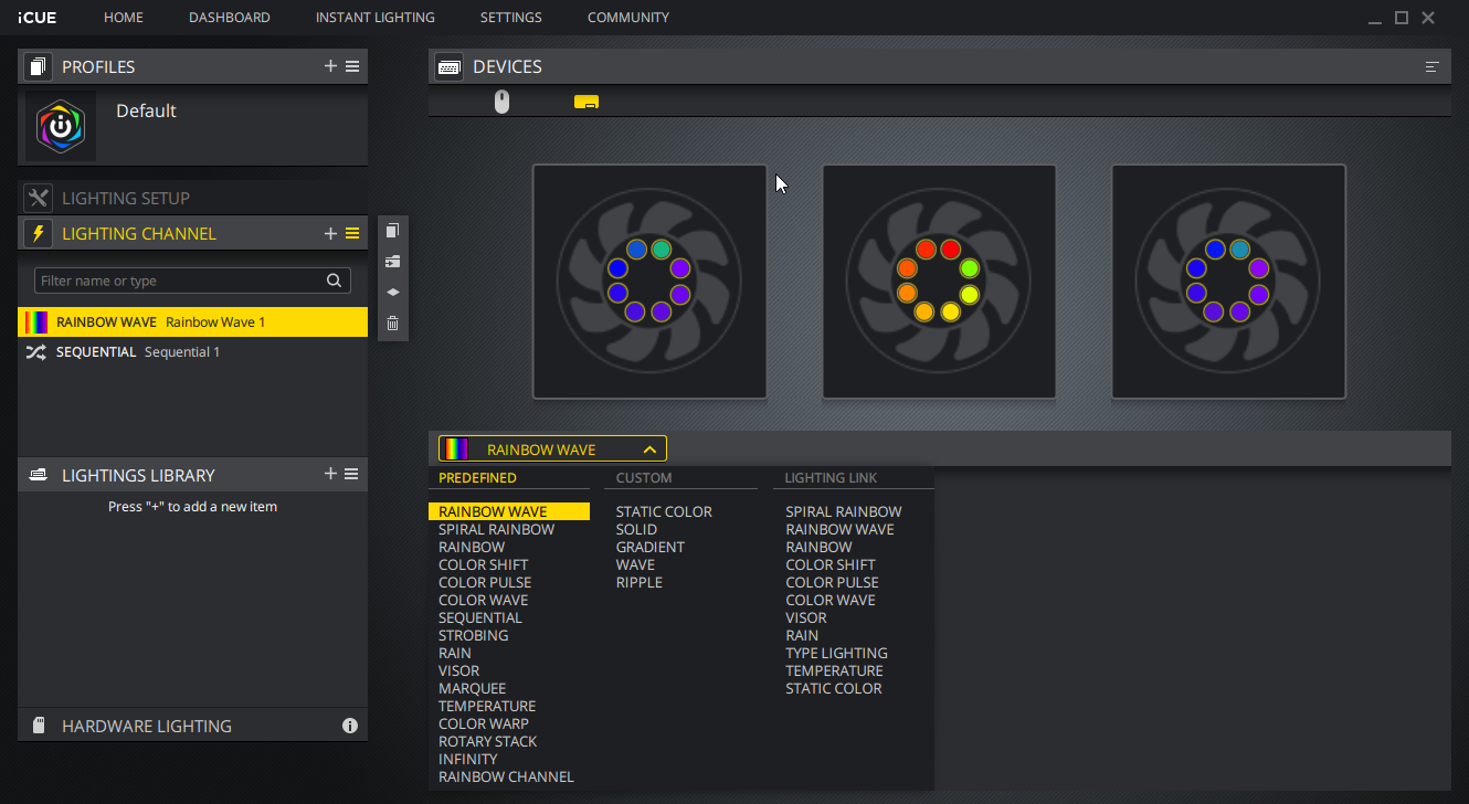 iCUE Corsair Software to control RGB