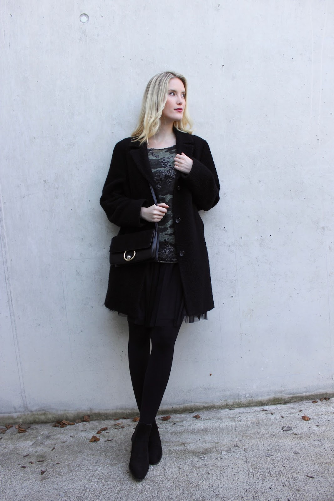Fashion Outfit Stuttgart Blog Camouflage Shirt Tulle Skirt TheBlondeLion
