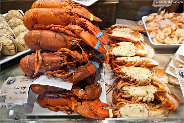 Langostas de la Pescadería del Mercado Público de Boston