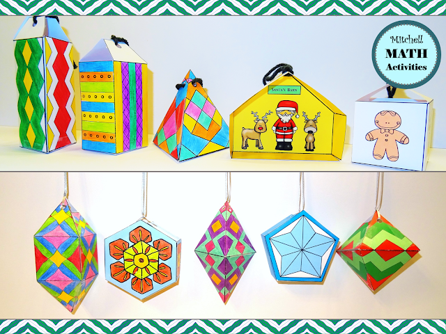 Examples of 10 different completed 3D holiday ornament crafts