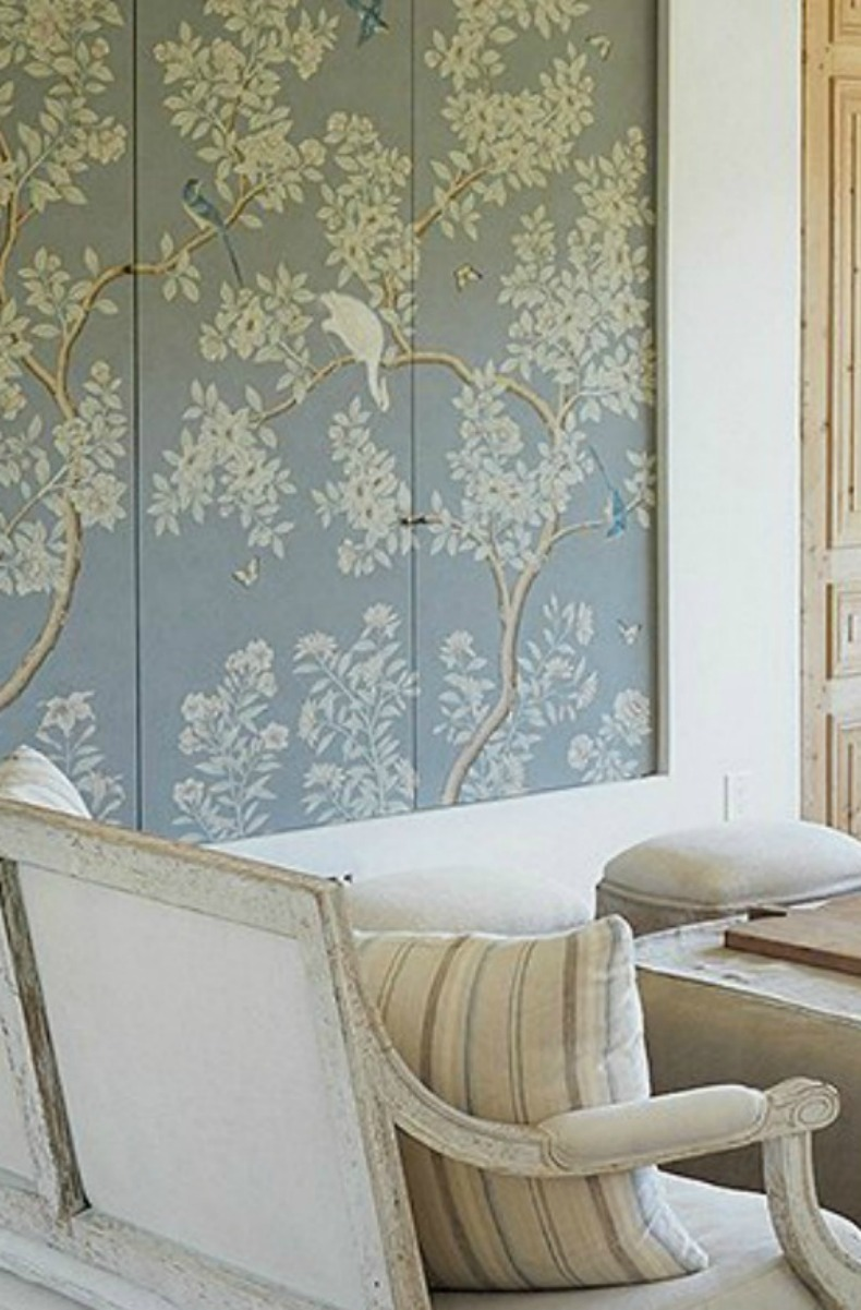 Gracie Studio blue painted panels with birds on branches #PatinaFarm #Graciestudio #mural