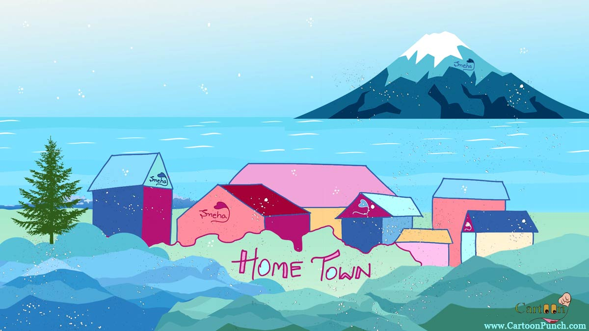 winter snow fall on colorful homes and huts near river and snow mountain: Home Town cartoons by sneha