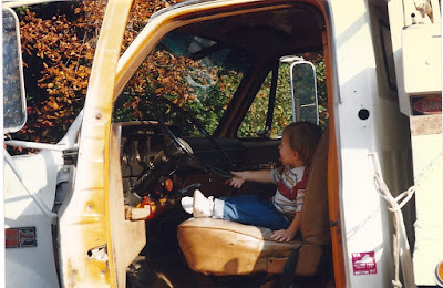Zack Wiant driving a Mac dump truck