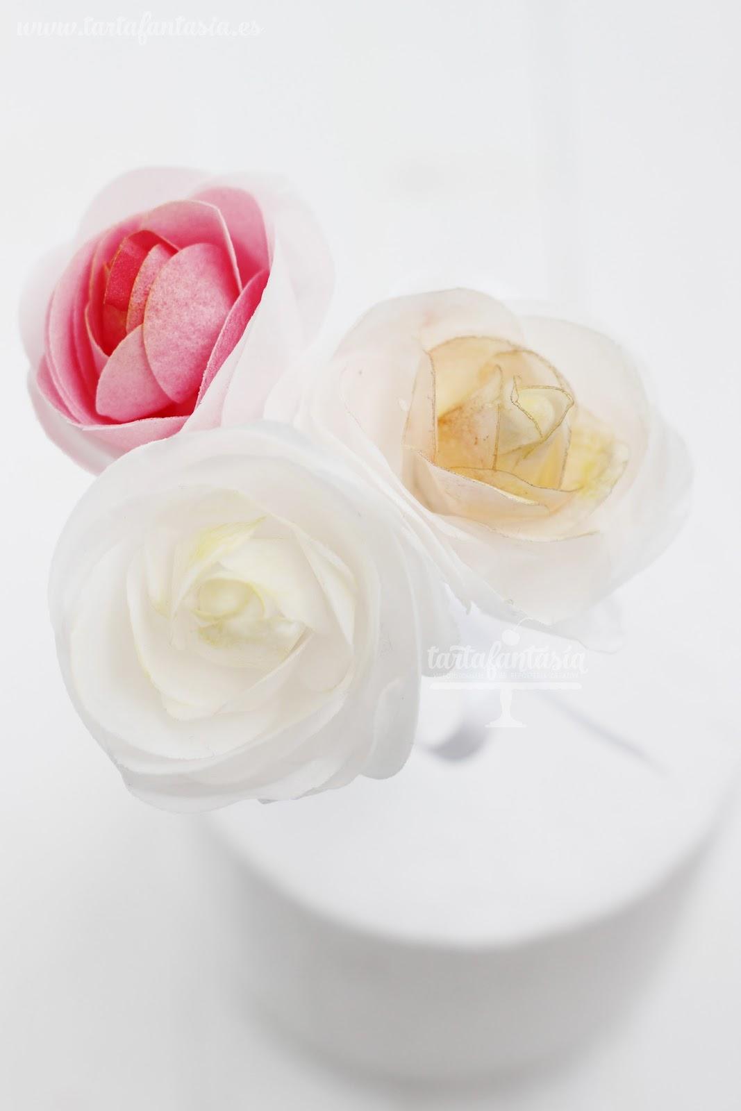 este semana os voy a ensear a hacer una rosas con wafer paper o tambin llamando papel de oblea con este papel podris hacer flores comestible - Hacer Rosas De Papel