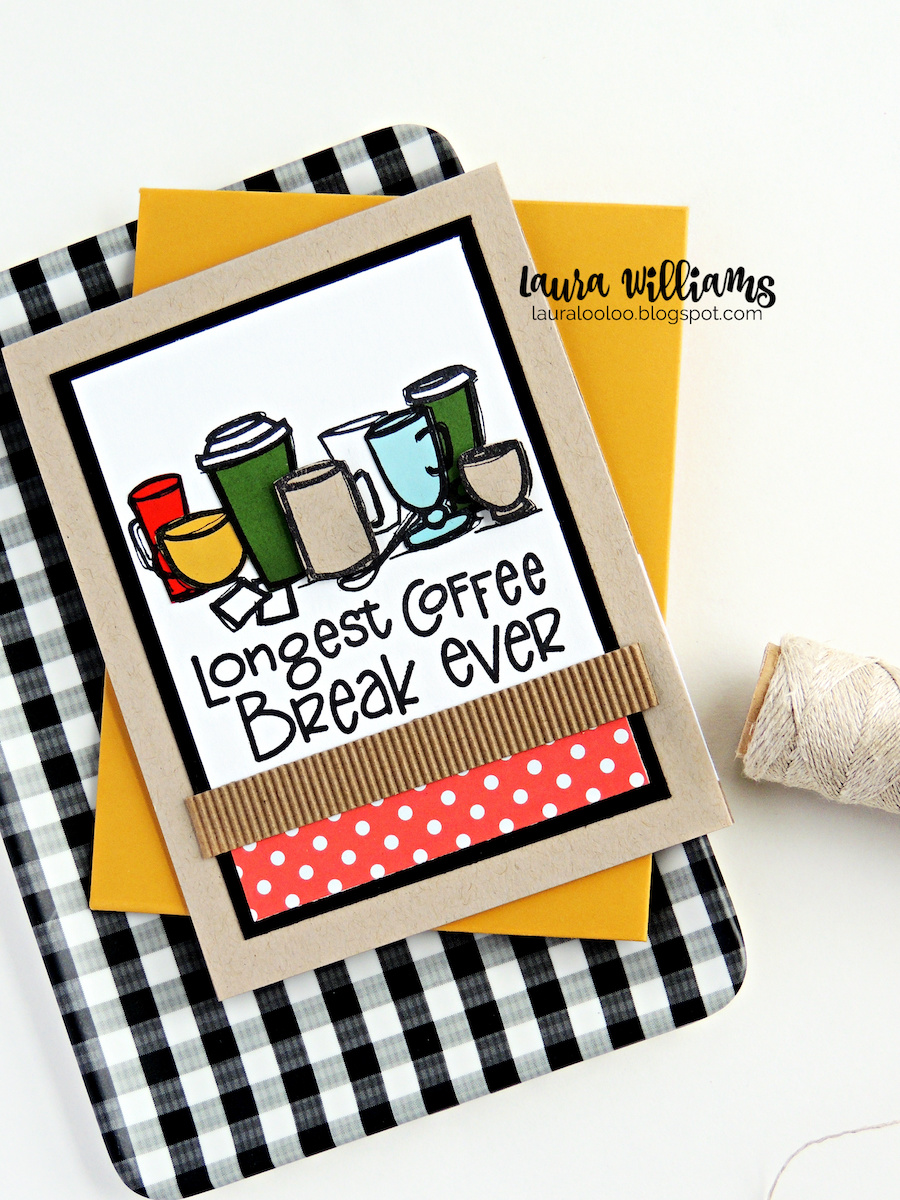 What a fun idea for a retirement card! Longest Coffee Break Ever! This bold chunky sentiment and pile of coffee cups is adorable for handmade cards, using stamps from Impression Obsession.