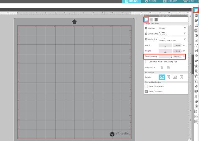 page setup panel, grid lines, silhouette studio, cameo 4, cameo 4 pro