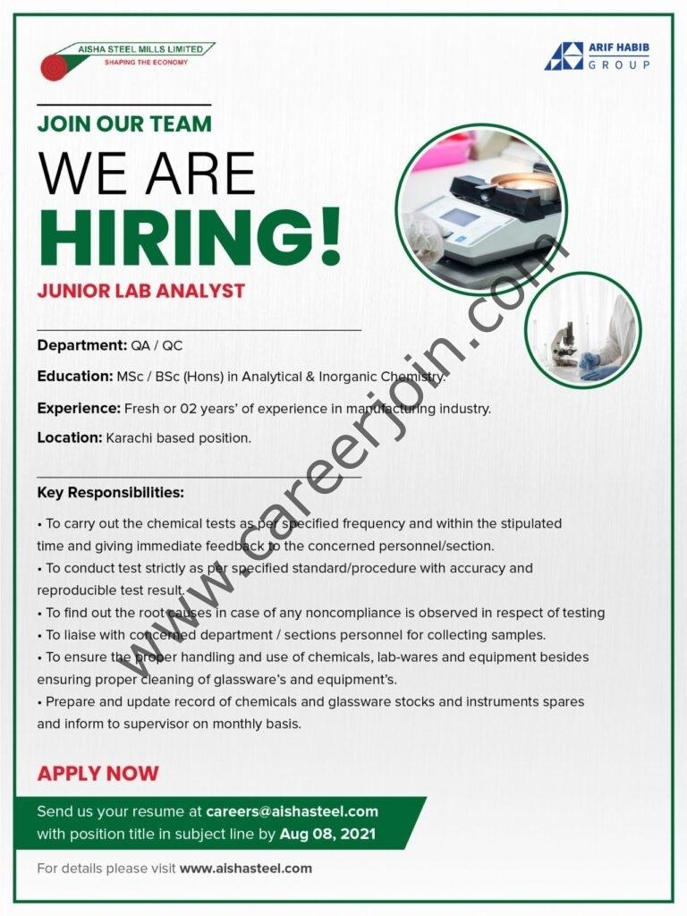 Aisha Steel Mills Ltd ASML Jobs 2021
