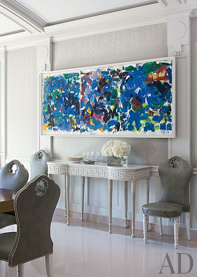 monday blues interiors with blue abstract paintings