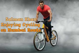 Bollywood Hero Salman Khan Enjoying Cycling on Mumbai Roads