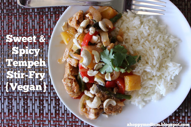 Sweet & Spicy Tempeh Stir-Fry | A Hoppy Medium